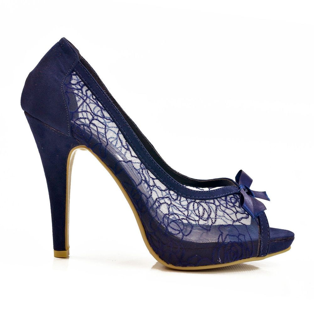 New Navy Blue Lace Peep Toe High Heel Stiletto Court Shoes Size