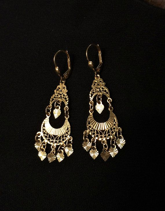 14K Gold Gypsy Chandelier Earrings Long Gold by Topcatvintage - 14K Gold Gypsy Chandelier Earrings, Long Gold Dangle Earrings