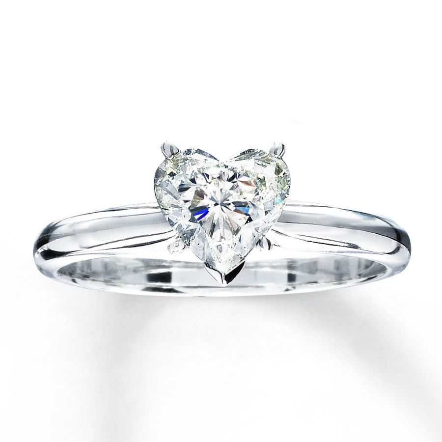 Jared Diamond Solitaire Ring 1 carat HeartShaped 14K White Gold