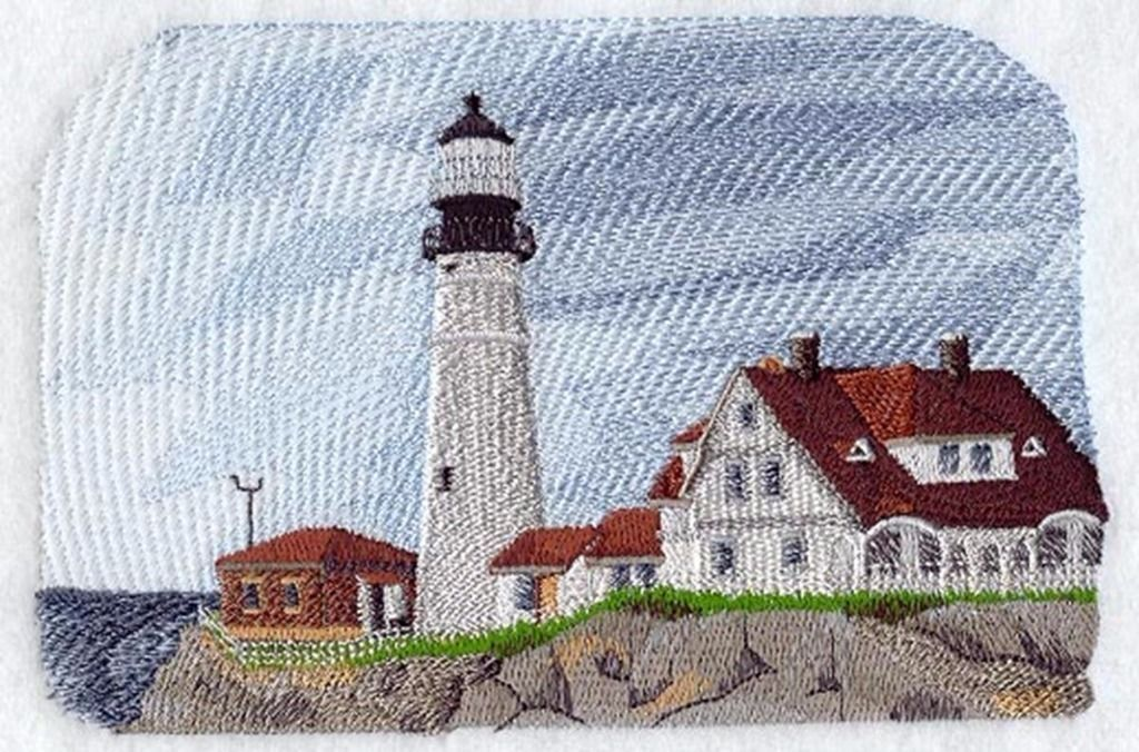 Portland Head Lighthouse Machine Embroidered Quilt Block