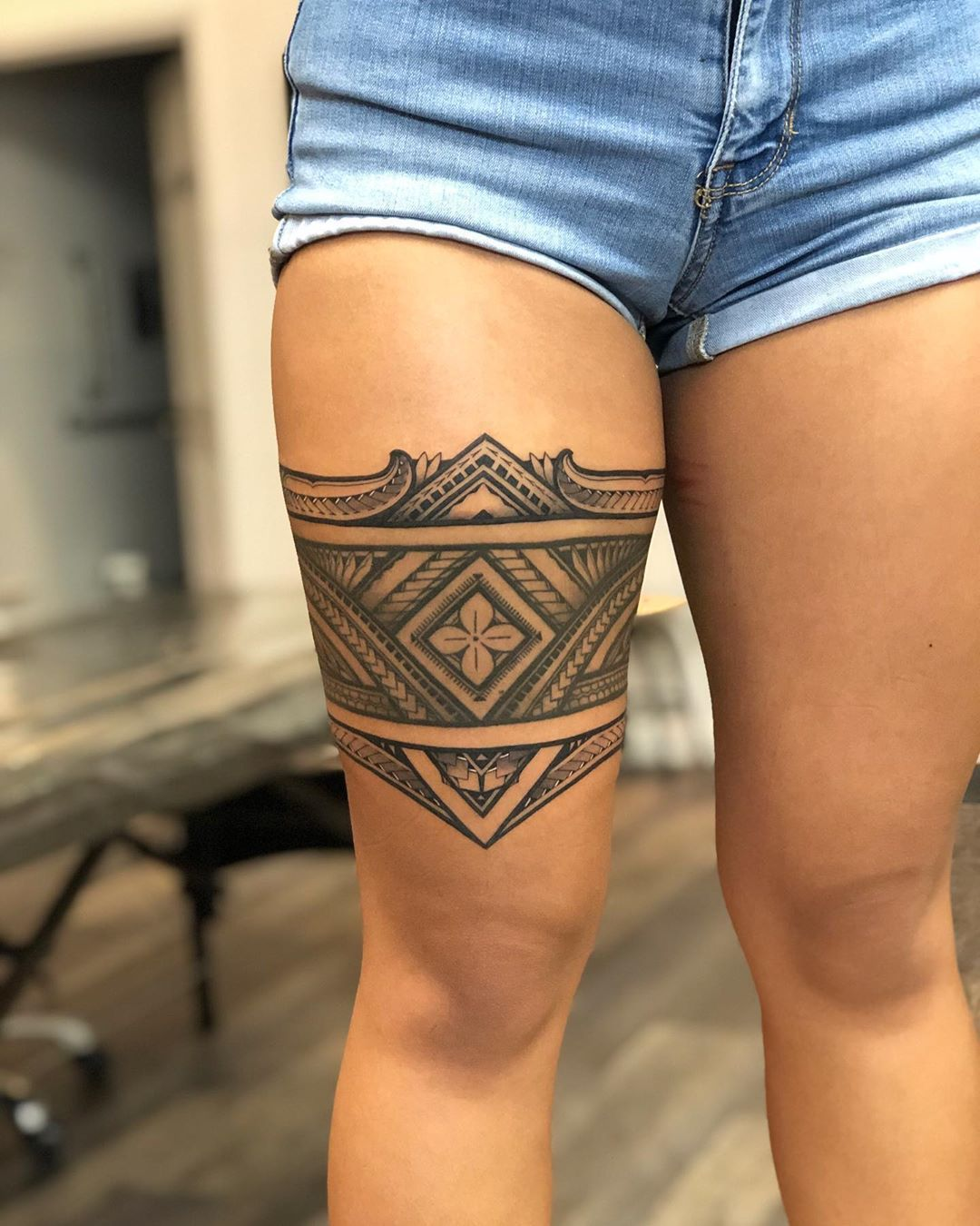 Upper And Lower Additions To A Healed Thigh Band From January Thanks Josephine808 Scheduling A Polynesian Tattoos Women Tribal Band Tattoo Leg Band Tattoos