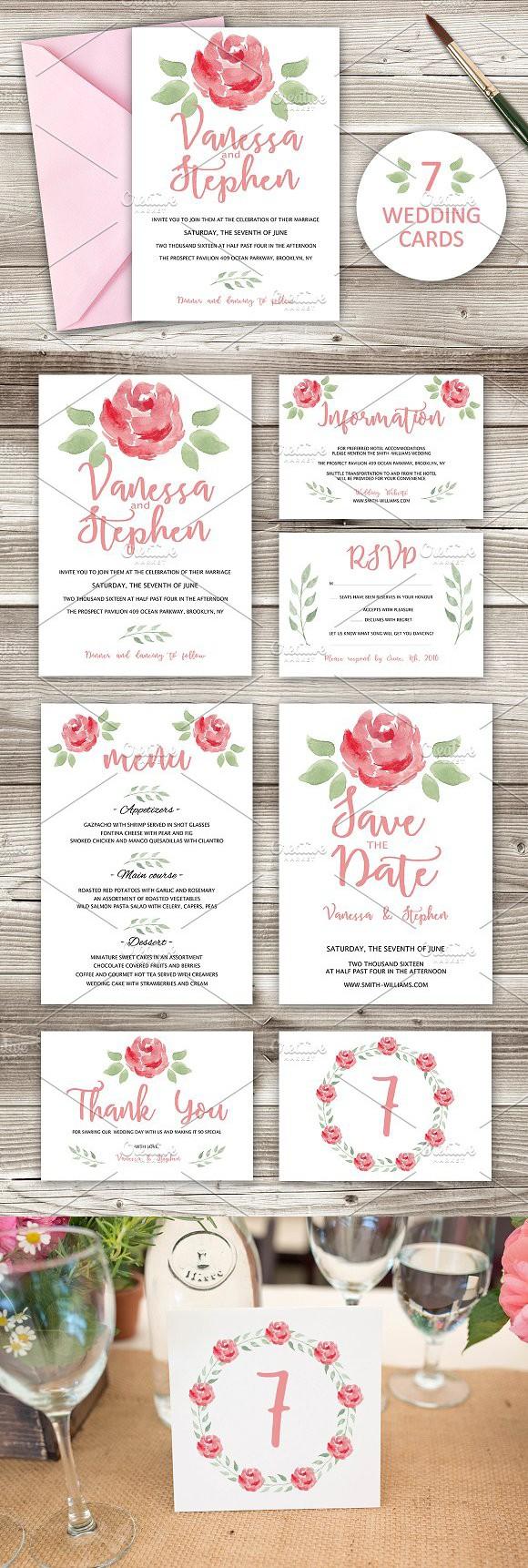 Wedding Invitations Pack 7 cards | Pinterest | Romantic fonts ...