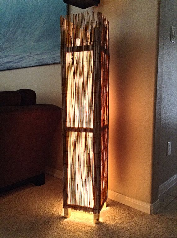 Bamboo Rustic Floor Lamp Beach lamp Rustic wood floor by