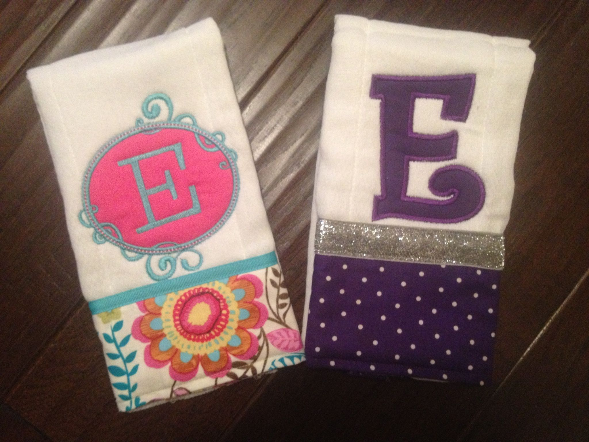 """Personalized baby girl burp cloths """"LIKE"""" our Facebook page  Sew Southern Stitches for more items!"""