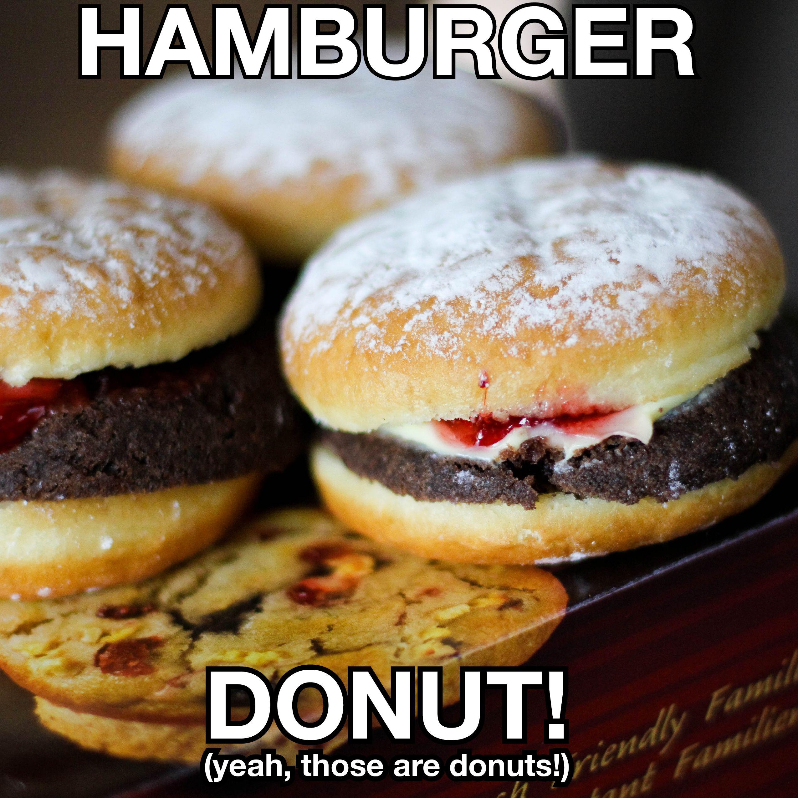Tims Has A Hamburger Donut Regular And Chocolate Donuts