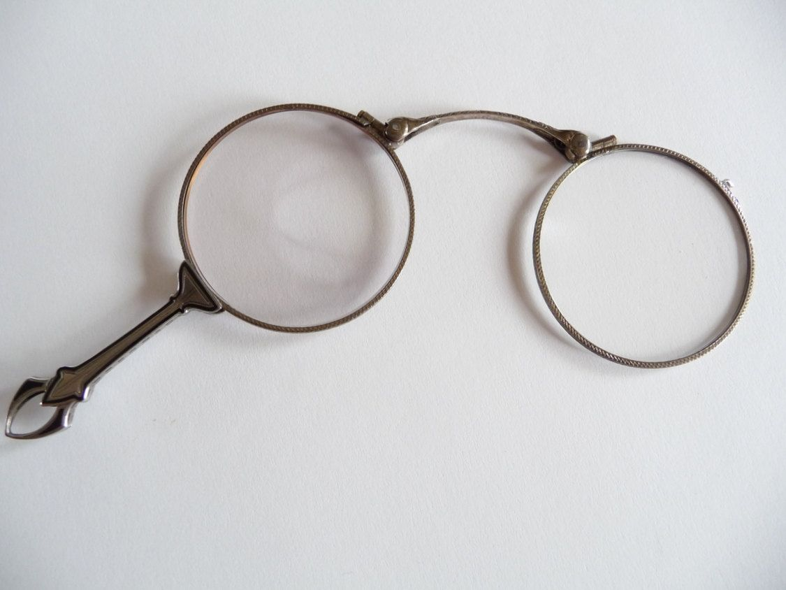 d88ec5e900f Vintage Lorgnette Sterling Silver Folding Eye Glasses Enamel ...