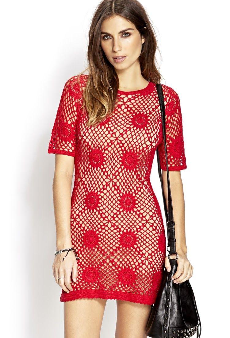 Vestido Vermelho de Crochet   Vestiditos, Vestidos tejidos y Tejido