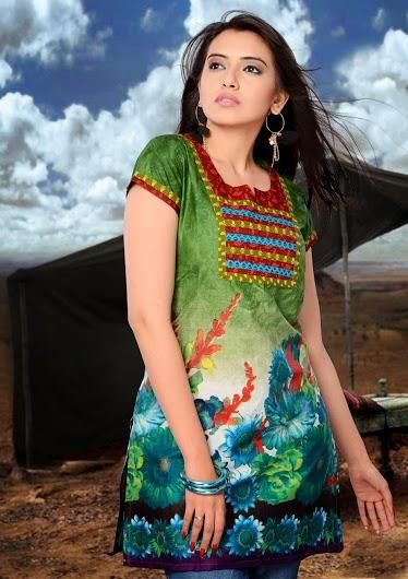 Olive Green and Blue Kurti