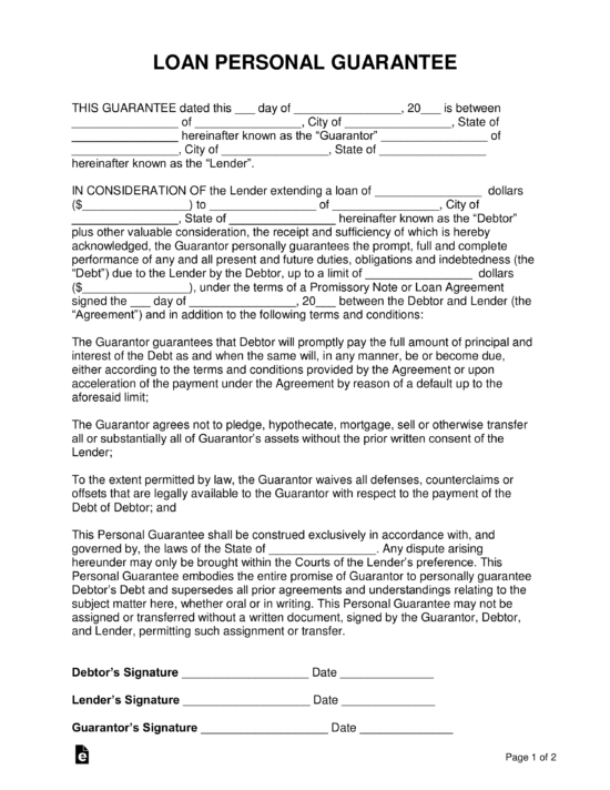Loan Personal Guarantee Form Co Sign A Loan Eforms Free Fillable Forms Loan Lettering Personal Loans