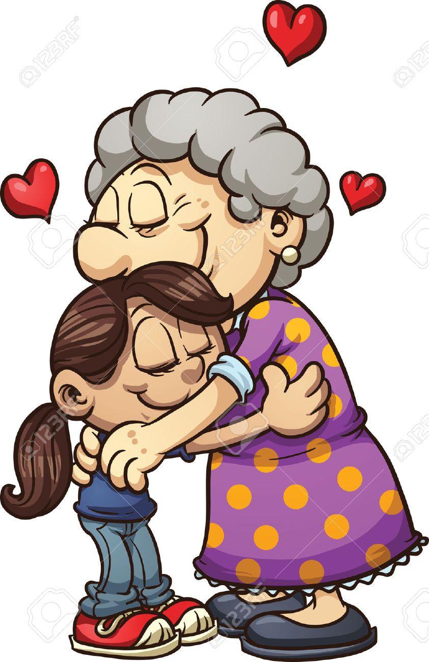 hight resolution of hugging her a grandma granddaughter clipart 1