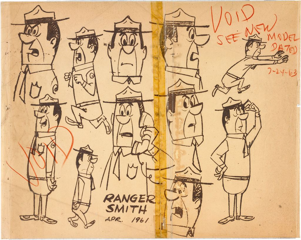 The Yogi Bear Show Ranger Smith Model Sheet Group 1 Hanna Barbera 1961 Yogi Bear Animation News Yogi