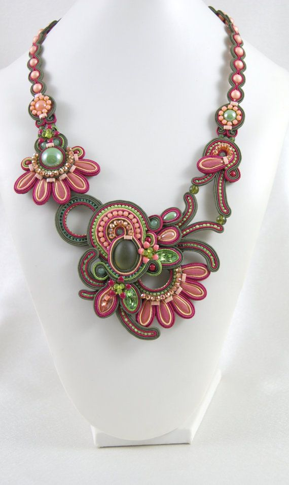 Soutache Necklace / olive, green, peach