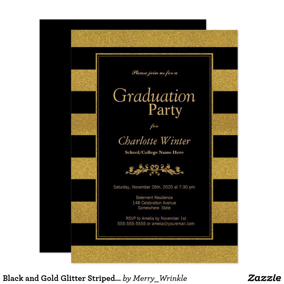 Black And Gold Glitter Striped Graduation Party Invitation