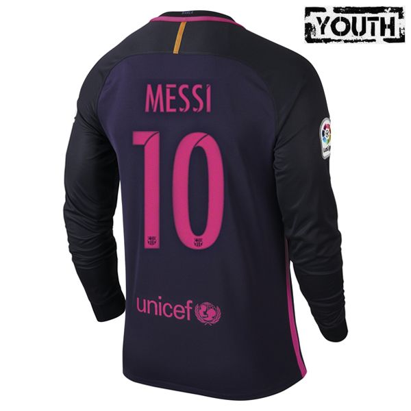 promo code 76dc5 2d895 Lionel Messi Youth Away LS Soccer Jersey 16/17 Barcelona #10 ...