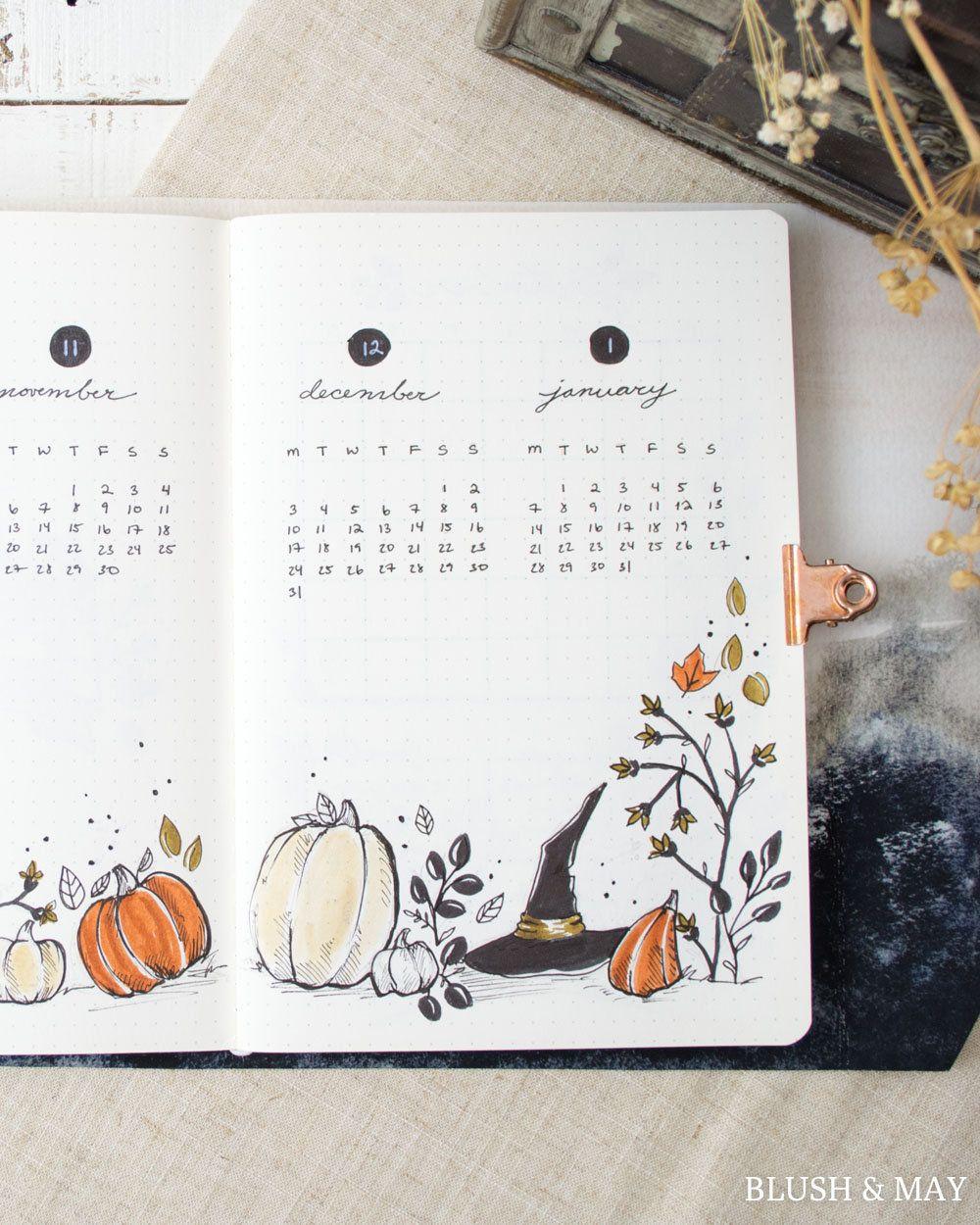 Full October 2018 & BLANK Setup | Printable for Journal or Planner #bulletjournaloctobre