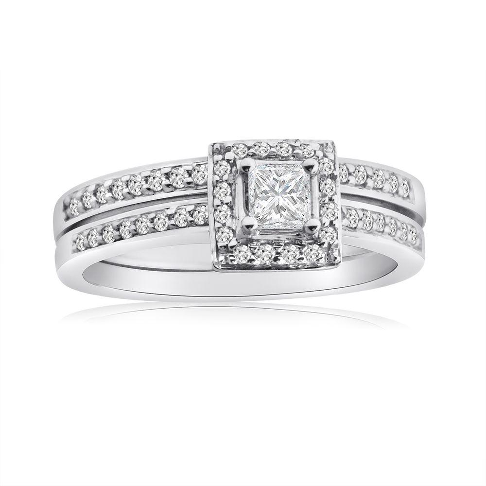 10k White Gold 1/2ct TDW Princess Diamond Halo Bridal Ring Set (H-I, I1-I2) | Overstock.com Shopping - Top Rated Bridal Sets