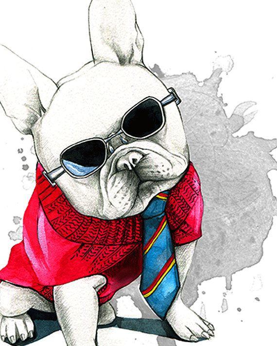 Français bulldog art photographie de par RongrongIllustration ... 94c0599abd462