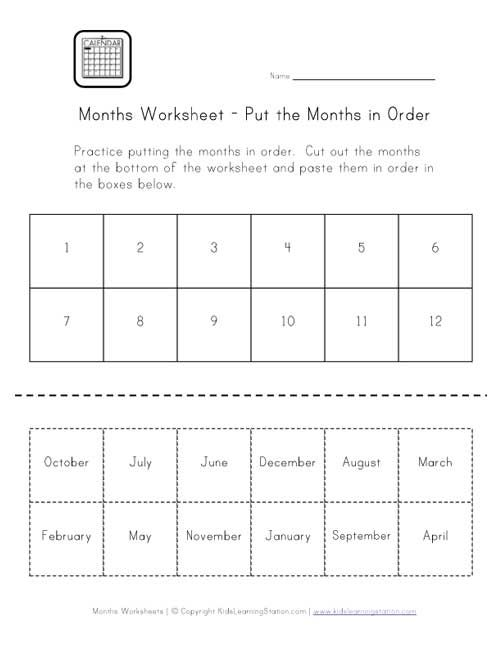 months of the year worksheet | Months Worksheet - Put Months in ...