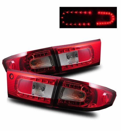 03 05 Honda Accord Sedan Euro Led Tail Lights Red Clear Protuning