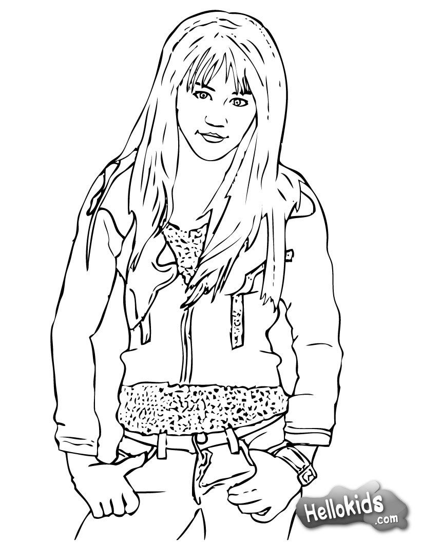 Cool Miley Cyrus / Hannah Montana coloring page. More singer ...