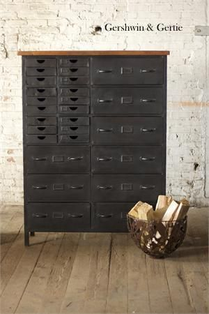 "Iron ""Avenue L"" Chest with 27 Drawers"
