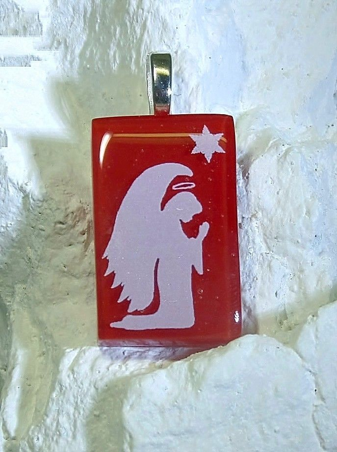 Fused Glass Pendant Christmas Angel Handcrafted by Lolas Glass Pendants #Handmade #Pendant
