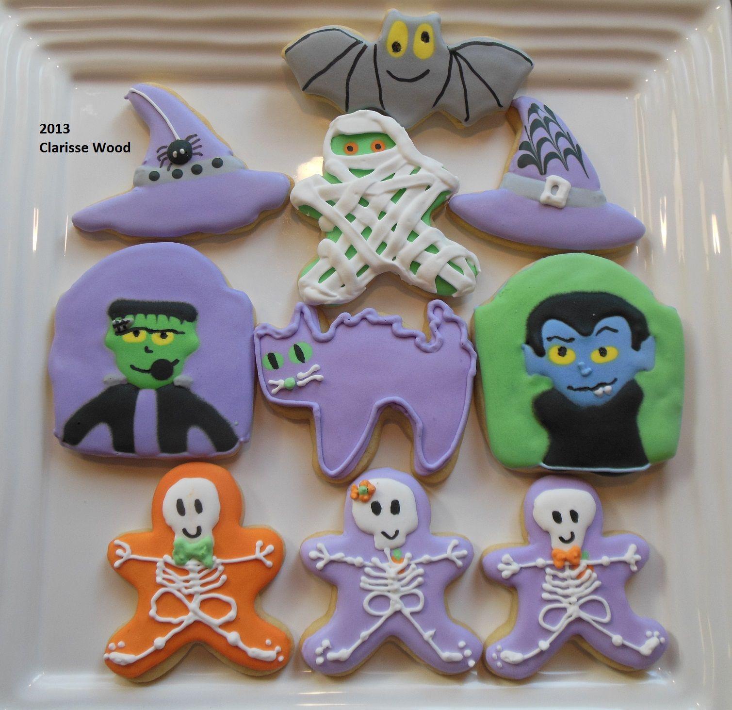 Halloween decorated sugar cookies bat, hat, cat, skeleton