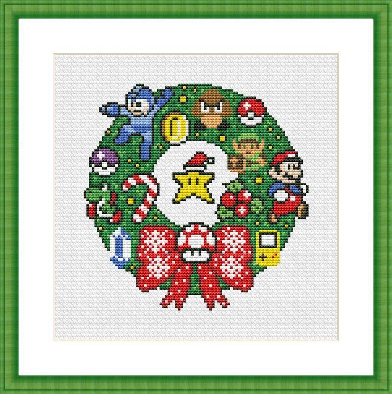 Funny Cross Stitch Pattern PDF Instant Download Super Mario Merry Christmas Retro Video Game Super Mario
