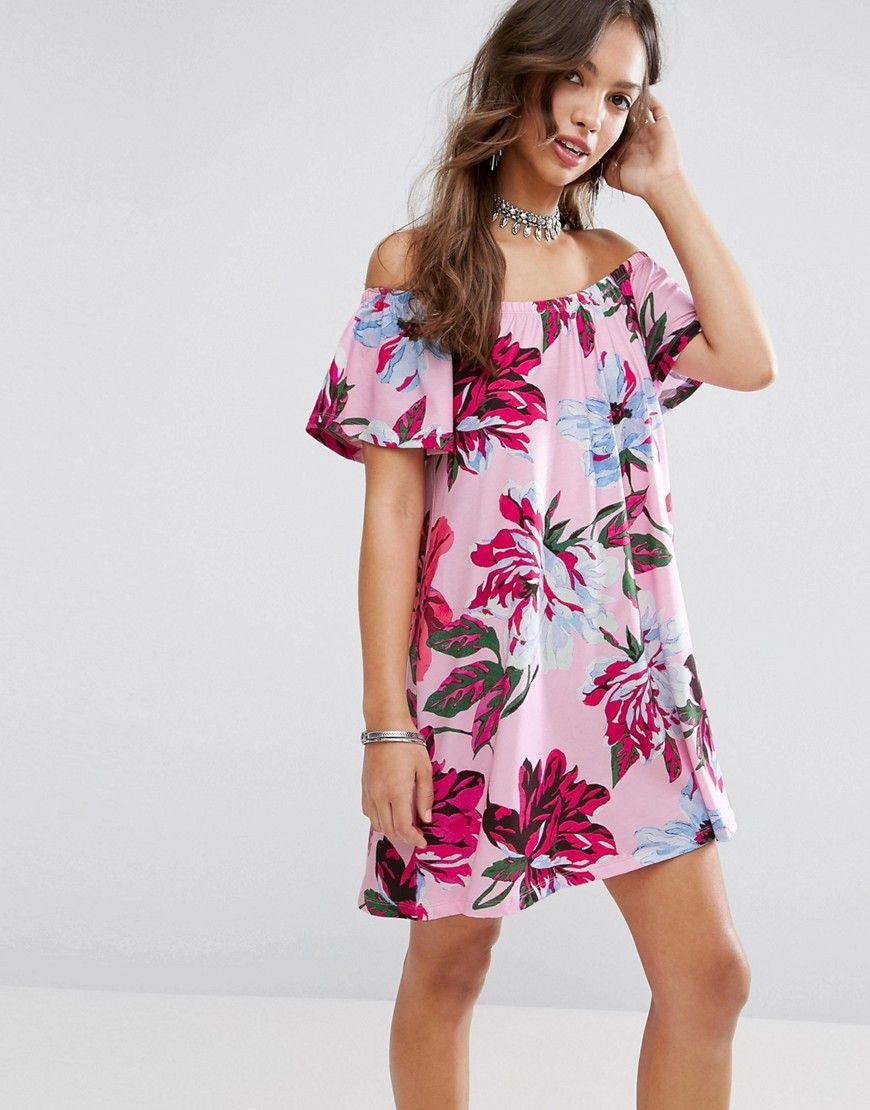 e99bcbc46f13 ASOS Off Shoulder Sundress in Pink Floral Print - Multi