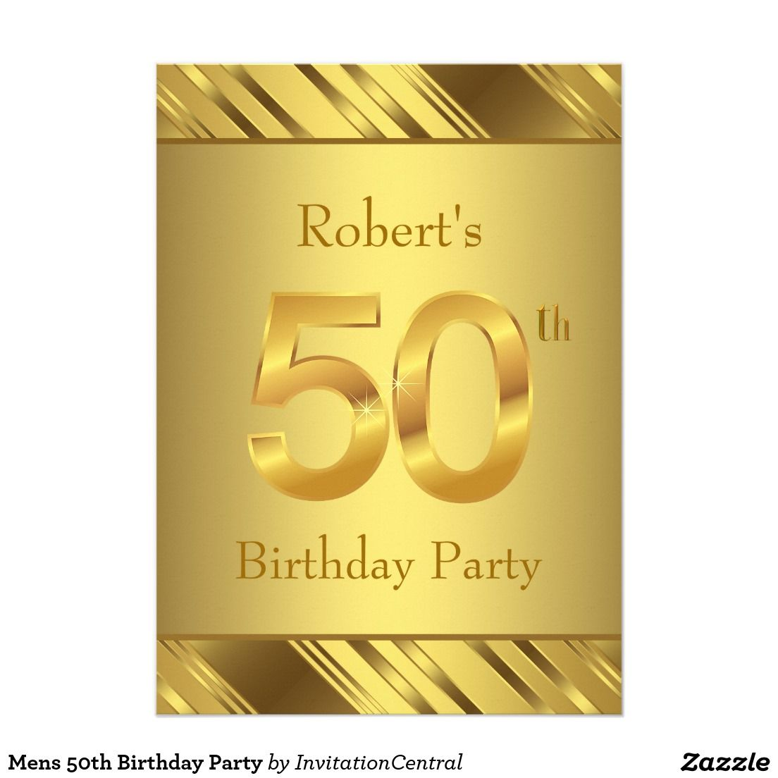 Mens 50th Birthday Party 5x7 Paper Invitation Card | Men\'s Birthday ...