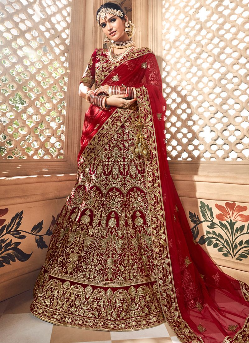 fc1833be4c Maroon Velvet Zardosi Work Bridal Lehenga Choli | Lehenga Choli in ...