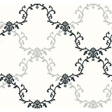 Tres Chic Frame Geometric WallpaperBL0388WhiteBlack