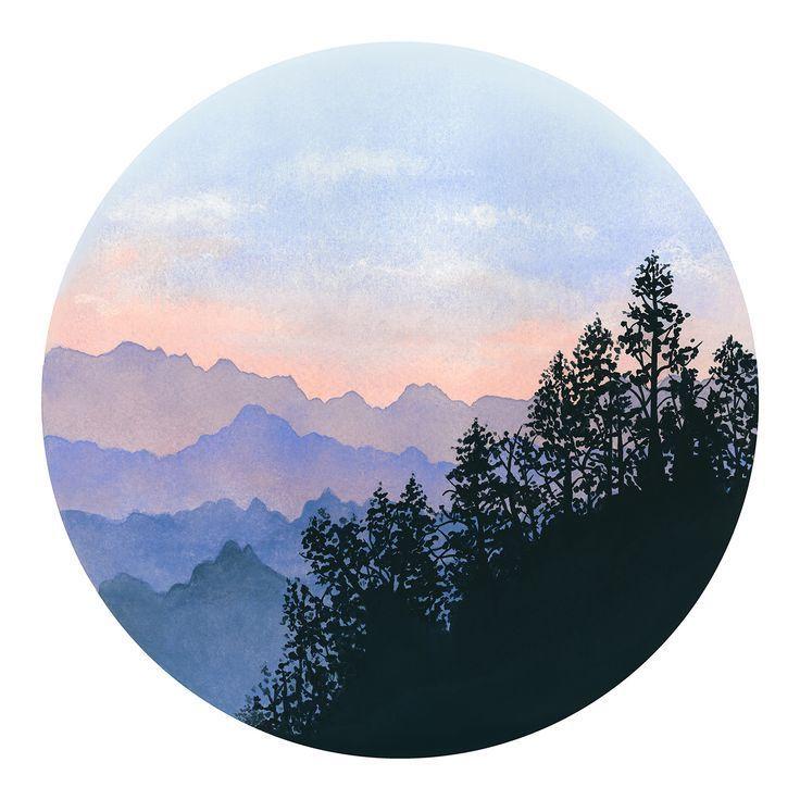 Photo of Aquarell druckbare Kunst Landschaft modern drucken Misty Mountains große Wand K…