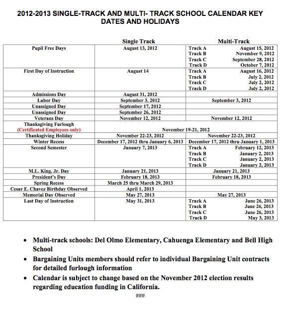 Here Is The Key Dates School Calendar For Single Track And Multi