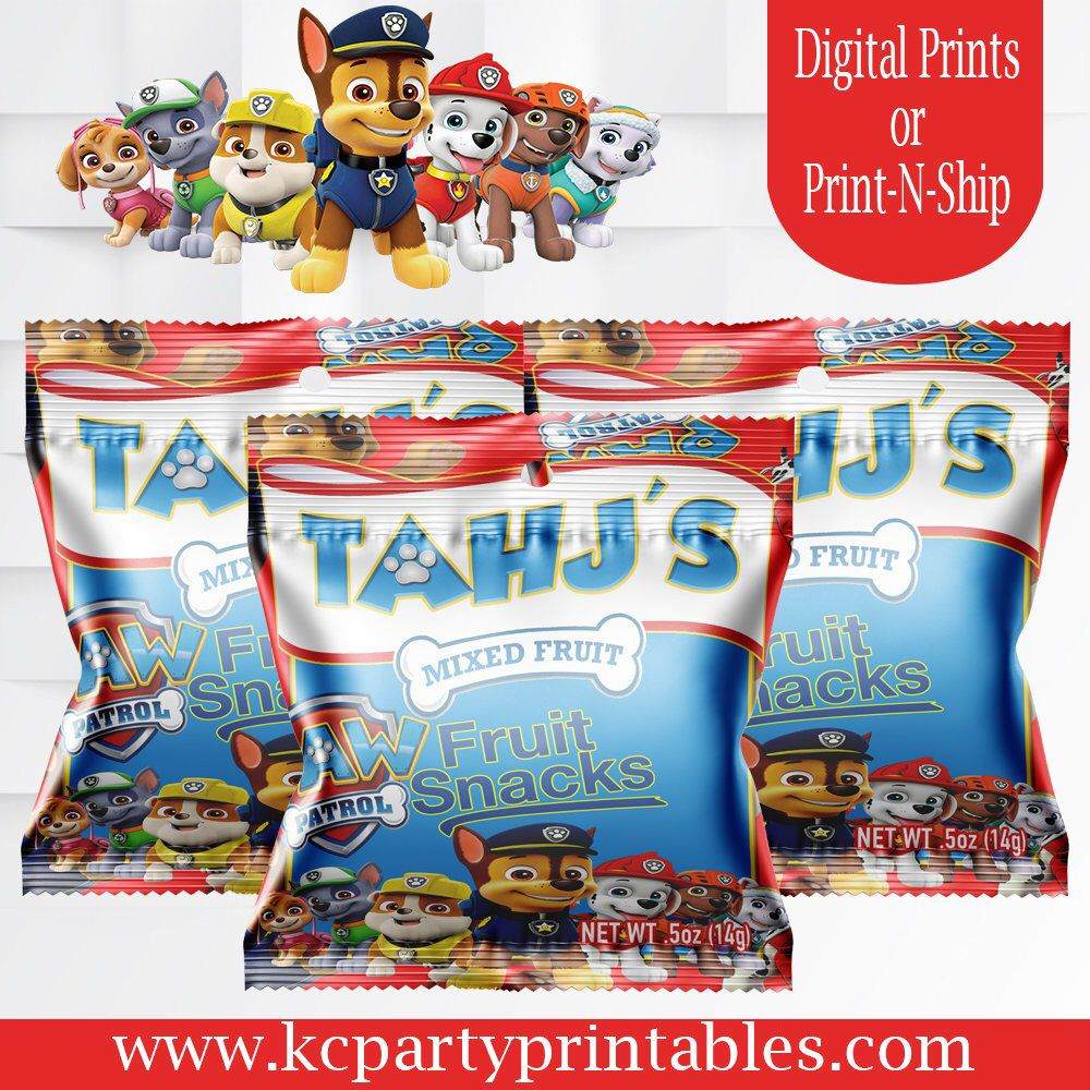 Paw Patrol fruit snack favors  Fruit Snacks  Paw Patrol Birthday  Candy favors  Printed  Invitations  Chip Bags  Treat bags  Party Favors - Fruit snacks, Snacks, Fruit, Candy favors, Paw patrol birthday, Paw patrol - INFO REVISION  Any additional revisions will have to be purchased  PRINTED AND ASSEMBLED FILLED WRAPPERS WILL BE SHIPPED OUT WITHIN 5 BUSINESS DAYS FROM THE DATE OF PROOF APPROVAL                                                                               FIRST PROOFS WILL BE DELIVERED IN 23 BUSINESS DAYS  FINAL ITEM (if revised) WILL BE DELIVERED NO LATER THAN 1 BUSINESS DAY AFTER APPROVAL   ALL PRINTABLES ARE FOR PERSONAL USE ONLY  I DO NOT CLAIM OWNERSHIP OF THE LICENSED CHARACTERS USED IN MY DESIGNS  THEY ARE INSPIRATION ONLY  PLEASE KEEP IN MIND THAT COLORS VARY ON AND OFF SCREEN AND FROM PRINTER TO PRINTER  KC Party Printables