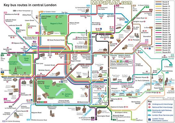 London top tourist attractions map Key bus routes by tourist