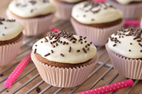 Small Batch Chocolate Cupcakes with Goat Cheese Frosting
