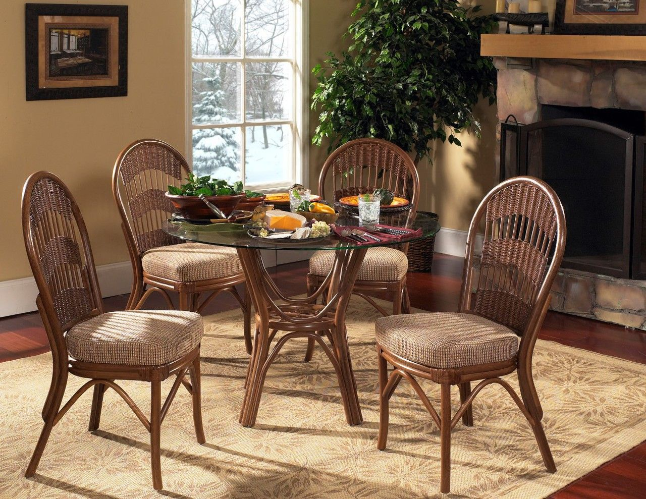 Modern wicker south sea rattan bermuda indoor dining room set with side chairs 1330 00