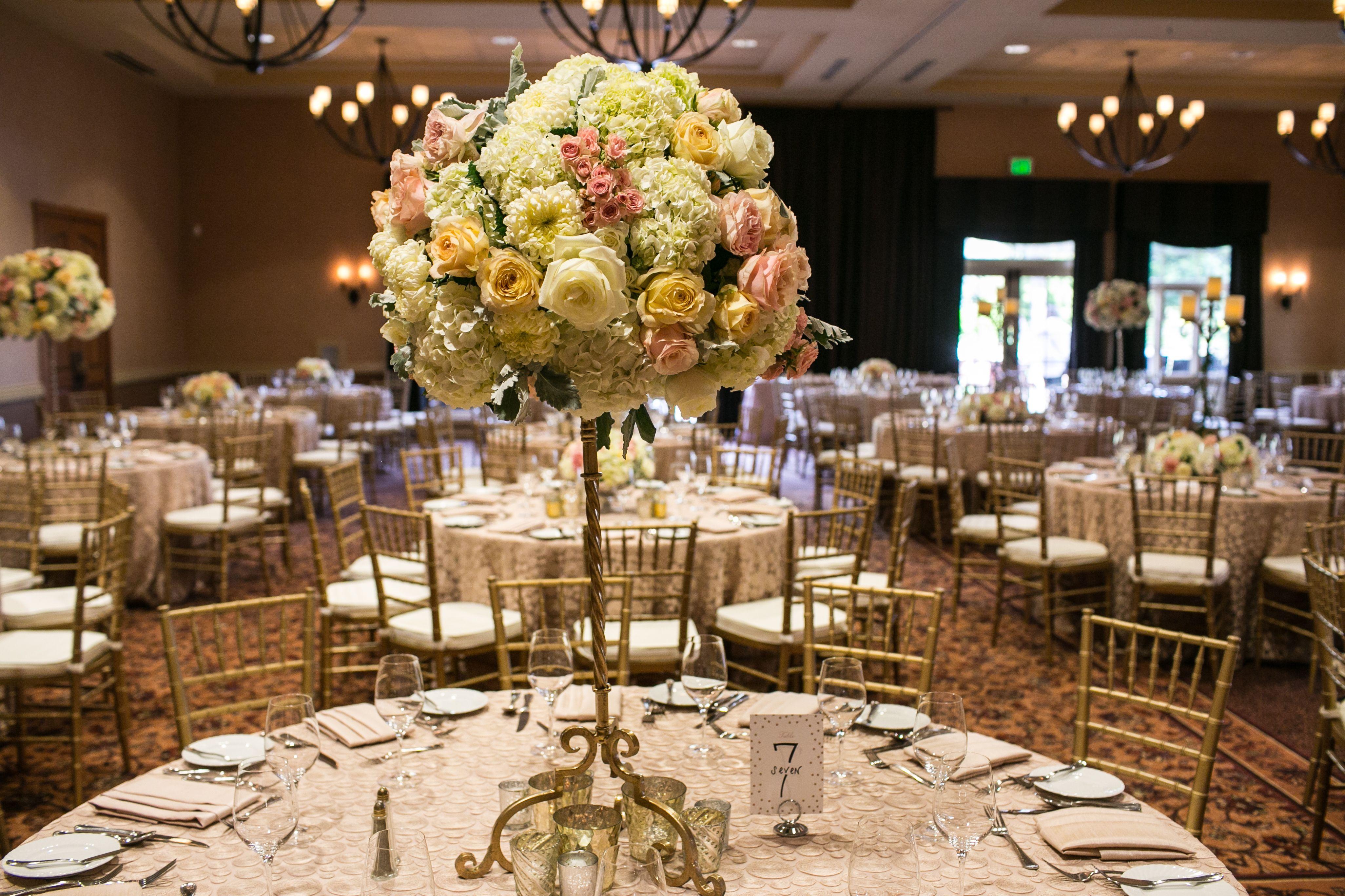 Gold Candelabra Fls Designed By Anita Wine Country Flowers Vintners Inn Wedding Reception Rose Ballroom
