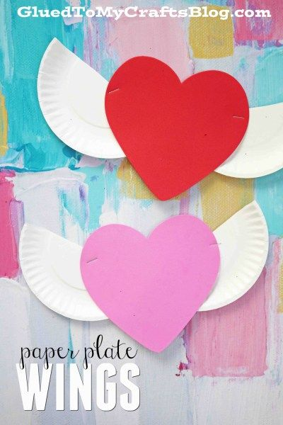 Heart With Paper Plate Wings Kid Craft Idea For Valentine S Day