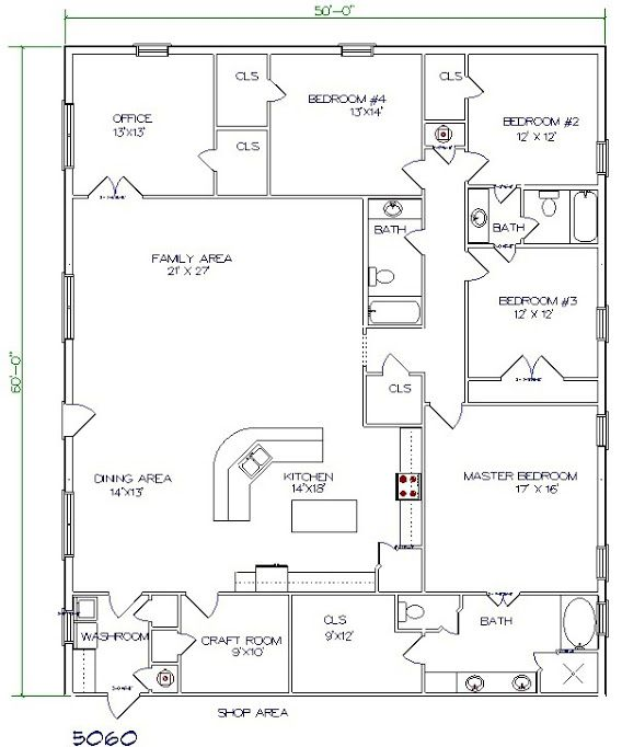 Barndominium Floor Plan 5 Bedroom 3 Bathroom 50x60 Pole Barn House Plans Barndominium Floor Plans Barndominium Plans