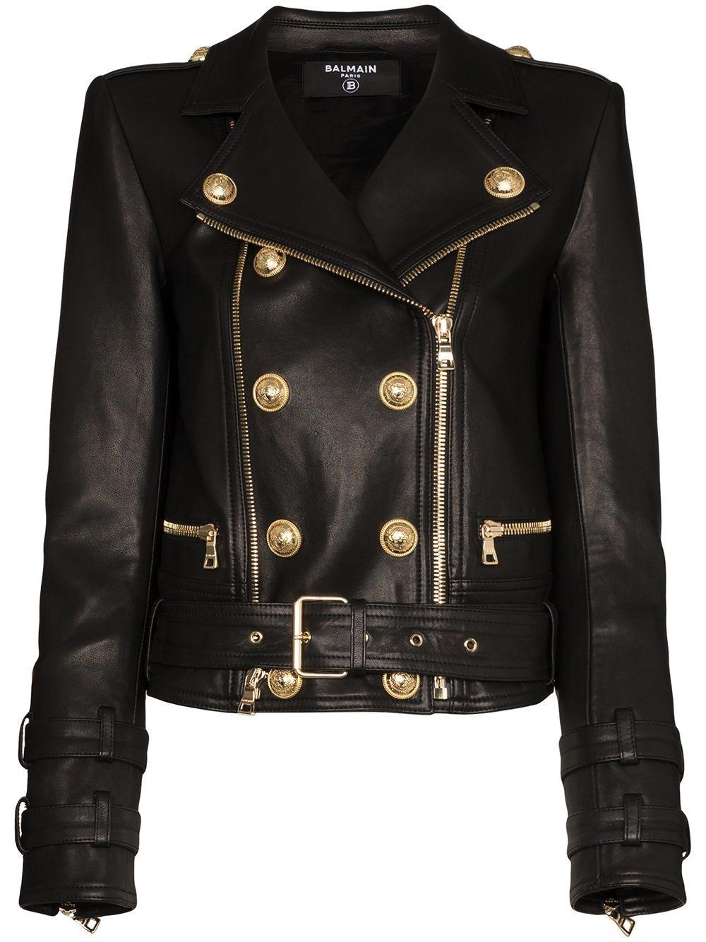 Balmain Women S Double Breasted Leather Biker Jacket In Black Modesens Balmain Leather Jacket Biker Jacket Leather Jacket Black [ 1334 x 1000 Pixel ]