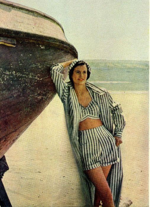 1948 | mode F&M | Pinterest | Strandmode, Streifen und Stil