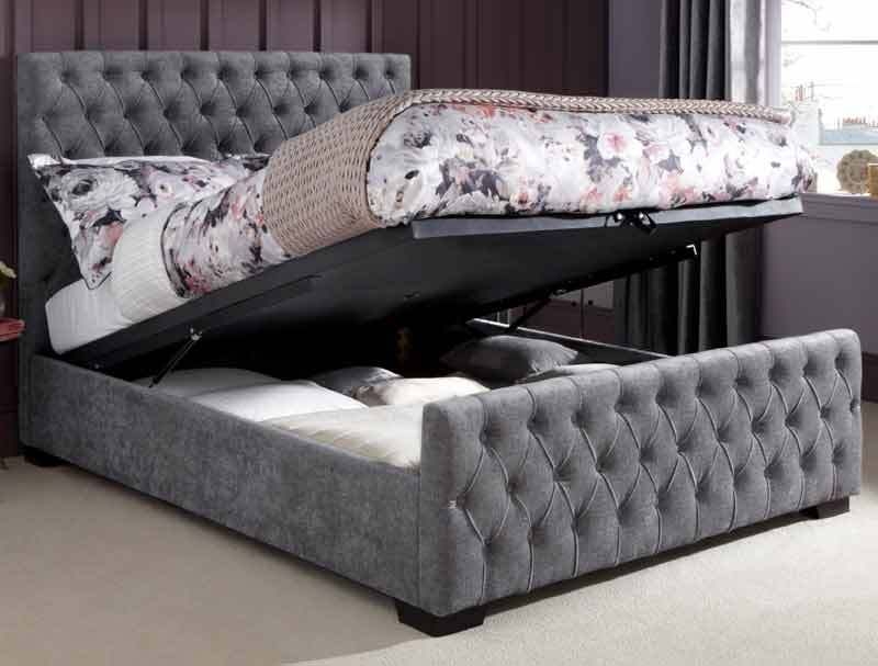4FT6 Double Chesterfield Buttoned Lillian Ottoman Steel Chenille ...