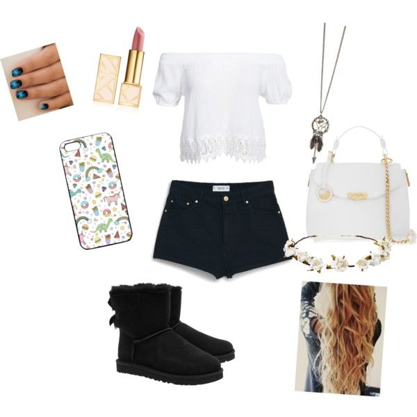Casual Outfit No.10 by sharifabakhtani on Polyvore featuring polyvore, fashion, style, Boohoo, MANGO, UGG Australia, Versace, Cult Gaia and Tory Burch