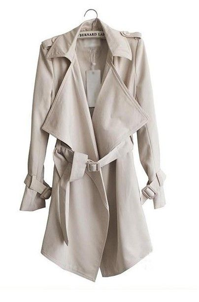 Fashion Turndown Collar Long Sleeves Khaki Cotton Long Trench