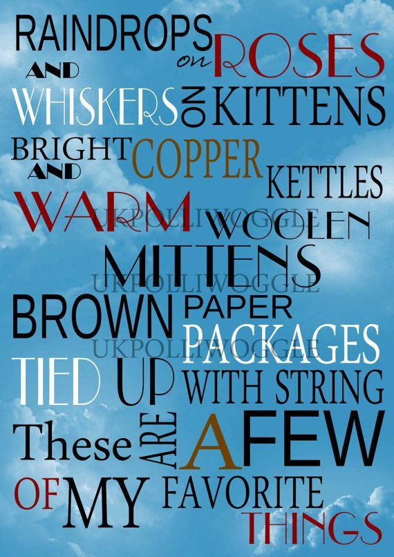 These Are A Few Of My Favorite Things Quote Posters Sound Of Music Music Wall Art