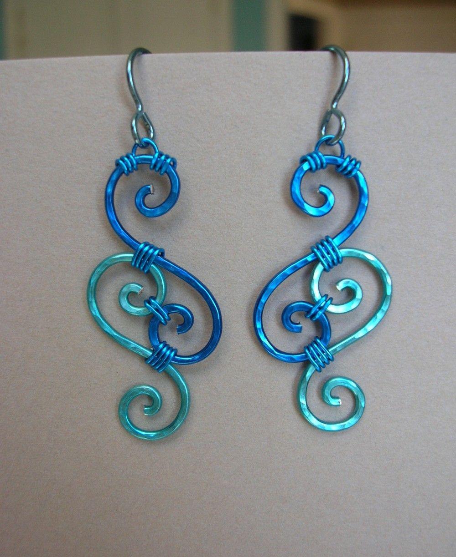Ocean Blues Wire Swirl Filigree Earrings by silverowlcreations