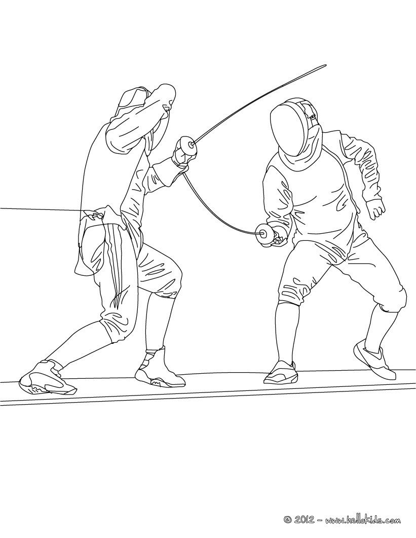 Martial Arts coloring page! Here Fencing sport coloring