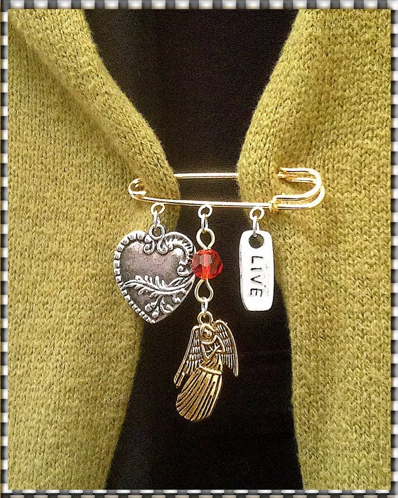 Kilt Pin Brooch Gold Pin & 3 Charms Heart by MalibuStyleDesign, $16.00